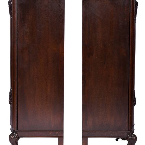 Pair of Art Deco Tall Cabinets – Armoires, Belgium 1920's Walnut and Oak