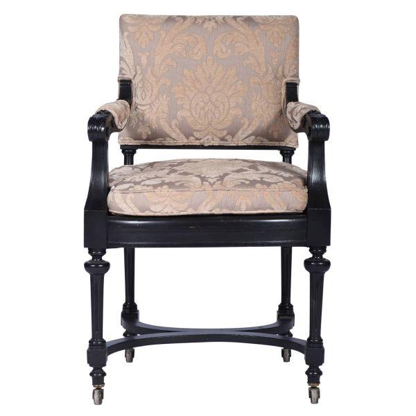 Antique Ebonized Library Armchair, Directoire Style, France 1860's.