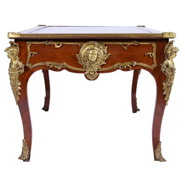 Antique Regency Louis XV style Presidential Bureau Plat Bronze -Ormolu Marble Top France 19th/20th C.