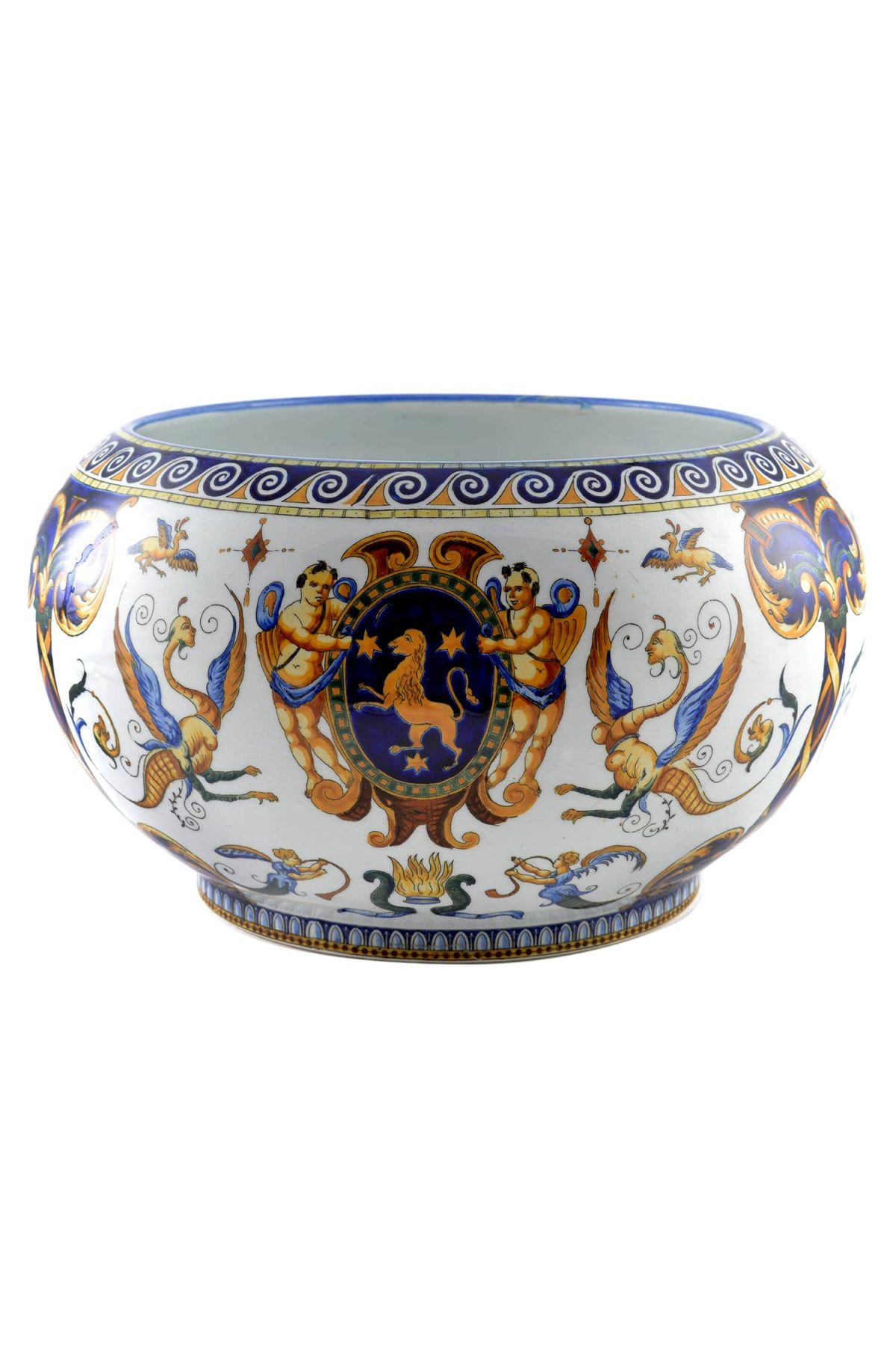 19Th Century Antique French GIEN Faience Bowl, FRANCE 1876
