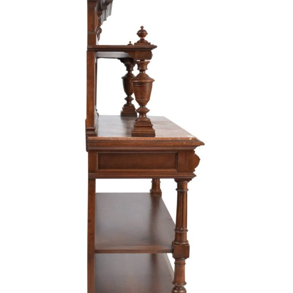Antique 19th Century Henry II Style French Walnut Server with Marble Top