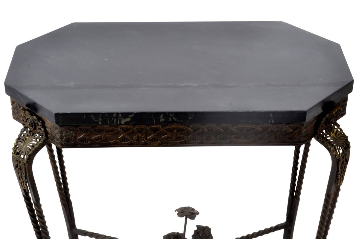 Antique Art Deco Oscar Bach Bronze and Iron Table, Slate Top. Early 20th Century