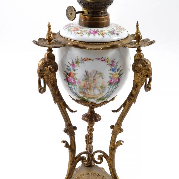 19TH Century French Oil Lamp With Rams Head Porcelain Louis XIV Style