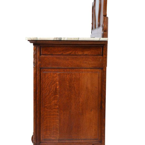 Antique Louis XV Oak Marble Top Sideboard, Buffet, Cabinet .19th Century. France.
