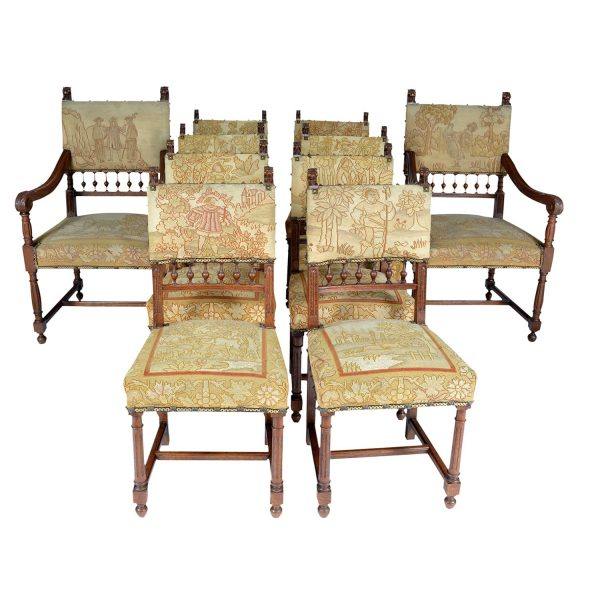 Set of 10 Needle Petit Point Upholstered Chairs in Henry II style. Walnut, France 19th Century