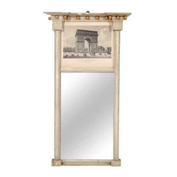 """Antique French Mirror """" Vues De Pasris"""" """"Arc De Triomphe"""" 19TH Century"""