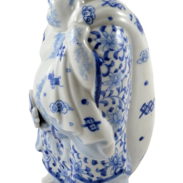 Vintage Chinese Porcelain Buddha Holding A Fan