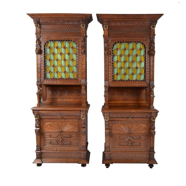 Pair Antique French Henri II Buffets Cabinets Stain Glass.19th Century France