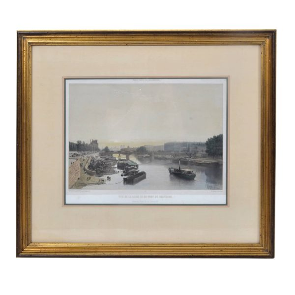 19TH C. French Lithograph. C. 1861. View Of The Seine And Pont De Solferina With Boats. Signed H. CHARPENTIER.