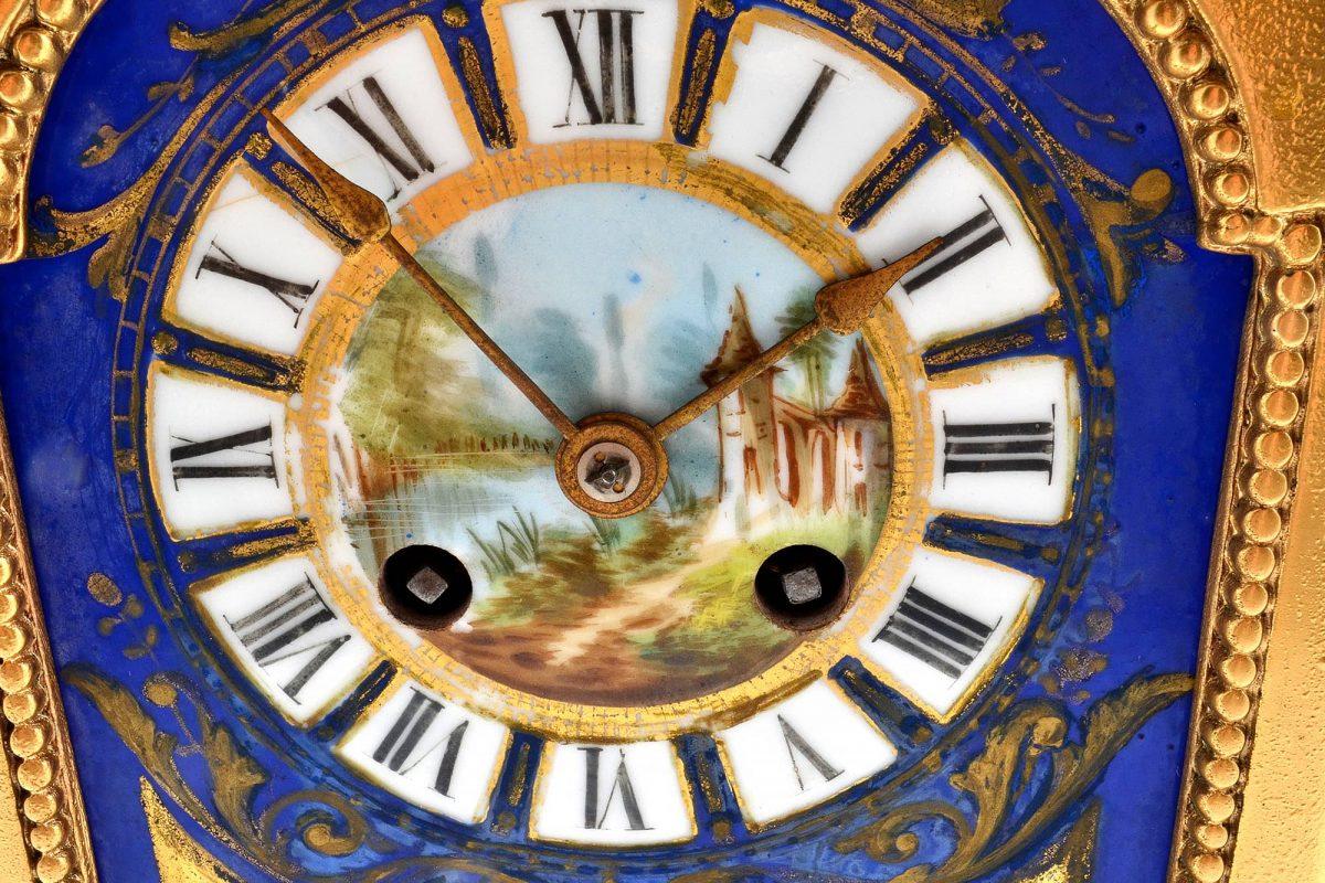 1870's Antique French Sevres Porcelain Ormolu Clock