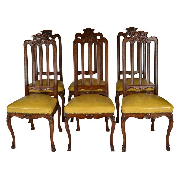 Antique Louis XIV Oak Set Six (6) Chairs. Dining-Kitchen. France. 19th Century