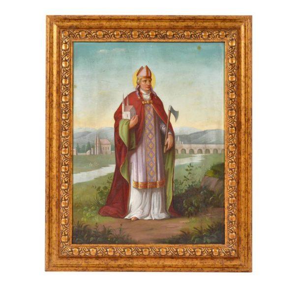 """St. Wolfgang"" of Regensburg. Oil on Canvas. German school. 19th Century"