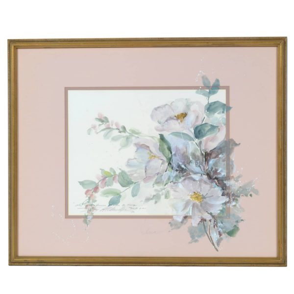20th Century Watercolor on Paper Painting. Bouquet of White Camellias. Floral. American. Signed Joy Aldridge.