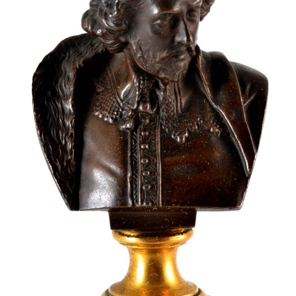 Bronze Bust William Shakespeare Grand Tour By Adolf Karl Brutt 1910 Germany H.Gladenbeck & Son
