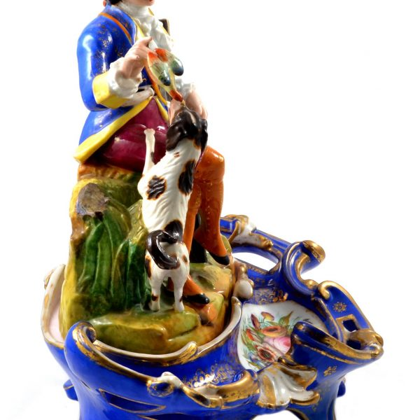 Antique Porcelain Figural Large Inkwell with Sand Shaker and Desk Tray, Old Paris France Early 19th Century
