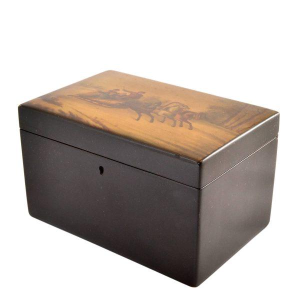 "Antique Imperial Russia Papier Mache Tea Caddy Box ""Troika"" Lid Lacquer Painting, B.L. Vishnikov 19th Century"