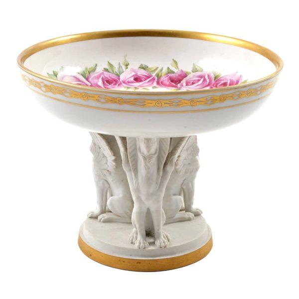 KPM Porcelain Bowl with Bisque Pedestal. Germany 1911