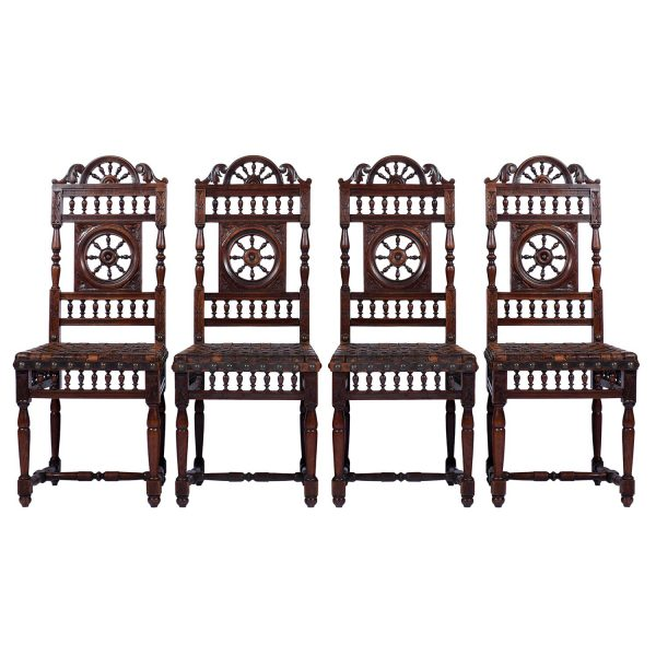 Set of Four (4) French Breton Dining Chairs 19th Century France
