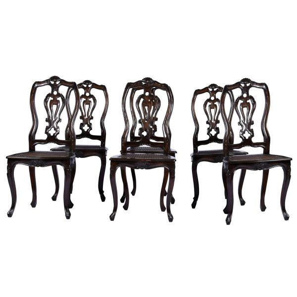 Antique Portuguese Spanish Colonial Style Pierced Splat Back Dining Side Chairs Set Six – 6