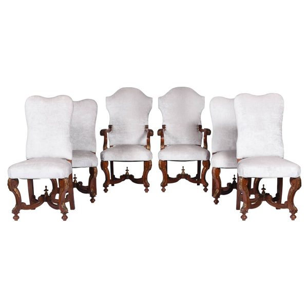 Antique Set of Six Upholstered Dining Chairs in Revival Style. France 1920's