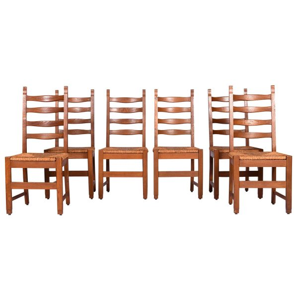 Set of Six Heavy Oak, Ladderback Rush Seat Country French Dining Chairs