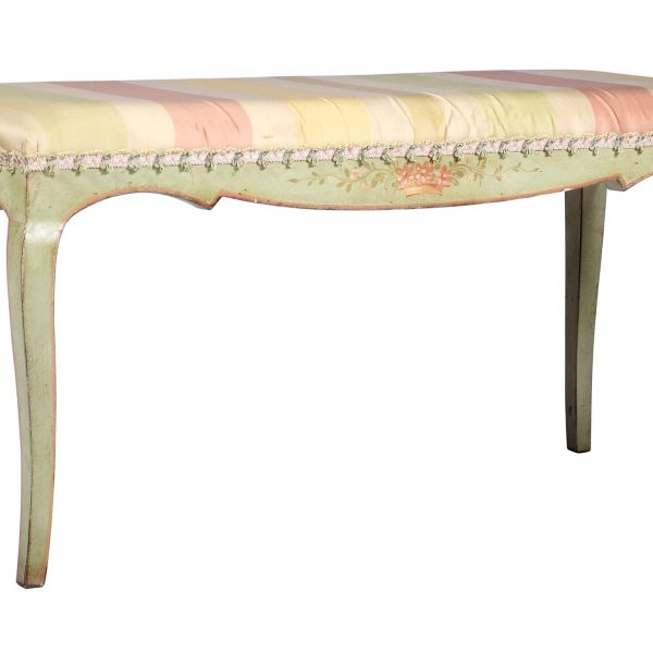 Vintage Italian Painted Bench Silk Upholstery C.A 1930'S