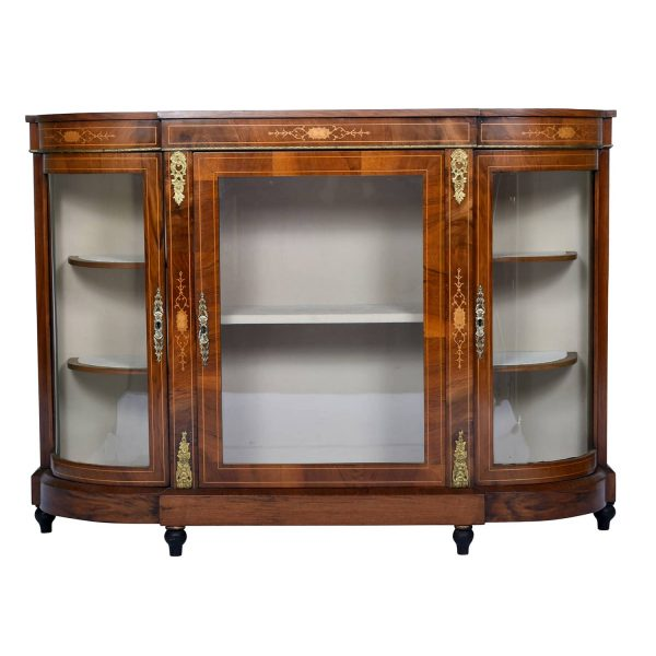 Antique Display Credenza Buffet Cabinet, Walnut, England, C. A. 1850's