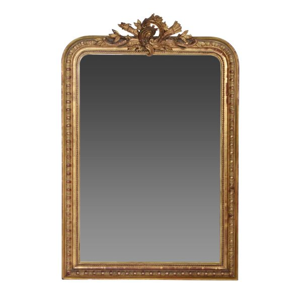 Antique French Gold Leaf Gilt Louis Philippe Style Mirror with Crest. France 19th Century.
