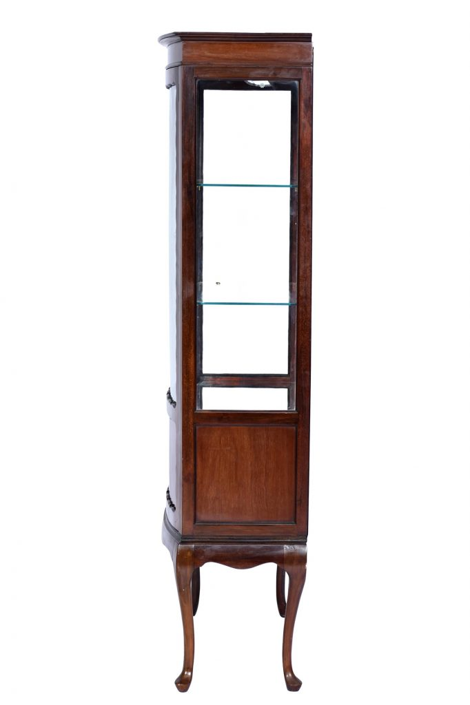 Antique Display Cabinet Queen Anne Style Walnut England C.A. 1900's