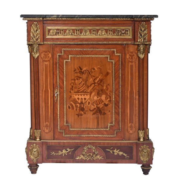 Marquetry Inlaid Gilt-Bronze Ormolu Mounted Marble Top Cabinet. France C. A. 1920's