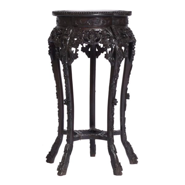 Antique Chinese / Oriental Rosewood Marble Top Plant Stand, 19th C.