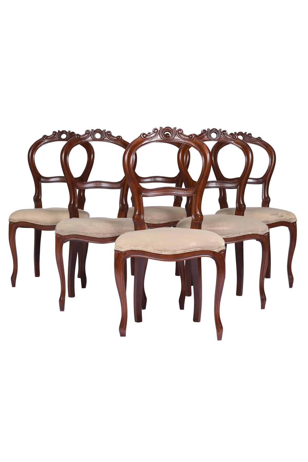 Set 6 (six ) Balloon-Back Walnut Victorian Dining Chairs, English c.a.1900's