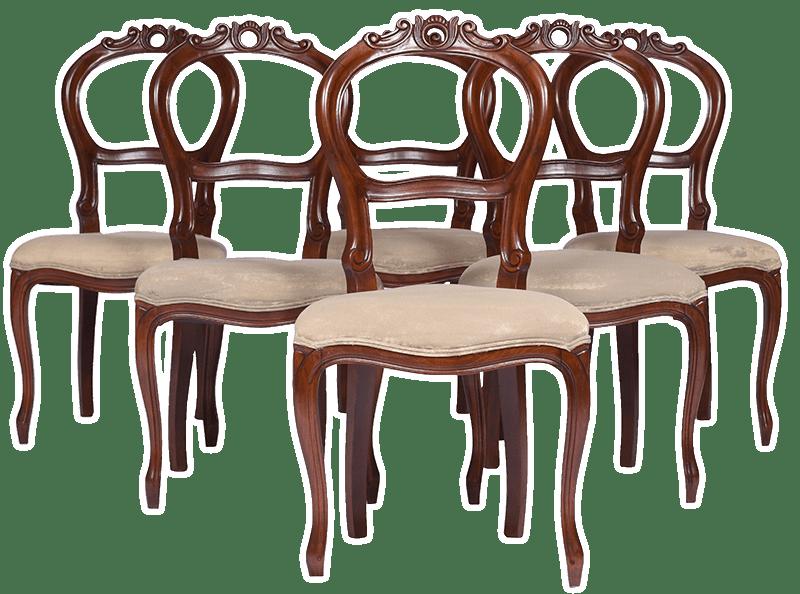 Slider- Set 6 (six ) Balloon-Back Walnut Victorian Dining Chairs, English c.a.1900's