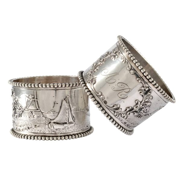 19th C. Pair of Napkin Rings, Dutch, Sterling Silver, Repousse