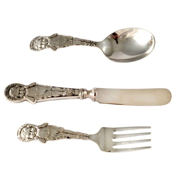"""Sterling Silver 3-Piece Baby Set Pattern """"Love and Luck"""" Webster 1926"""